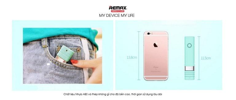 Remax XT-P01 có kích thước 11,5 cm làm bằng nhựa ABS và thép không rỉ