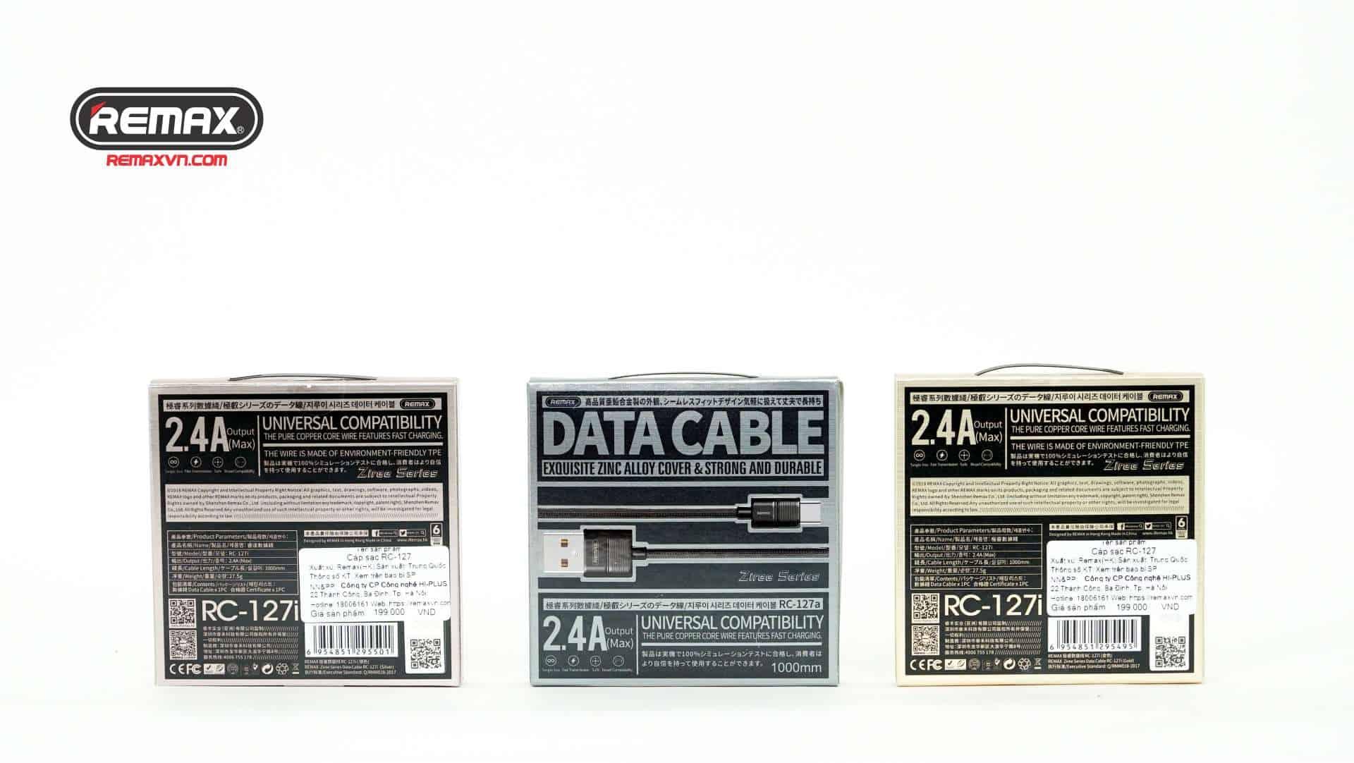 Cáp dữ liệu Remax 2.4A RC-127