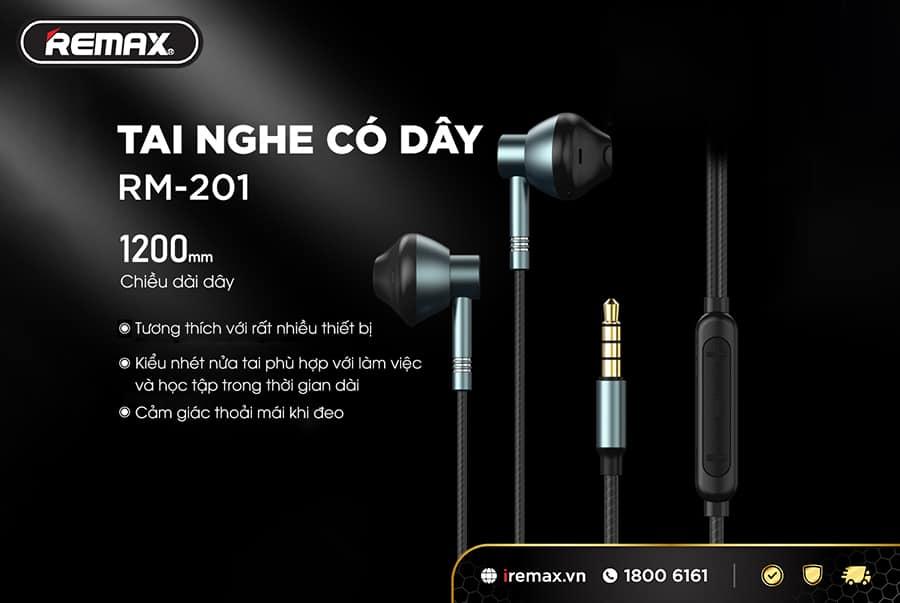 Tai nghe Remax RM-201sở hữu nhiều ưu điểm về công nghệ đem đến trải nghiệm âm thanh tuyệt vời cho những người yêu thích nghe nhạc, đàm thoại thông qua tai nghe.